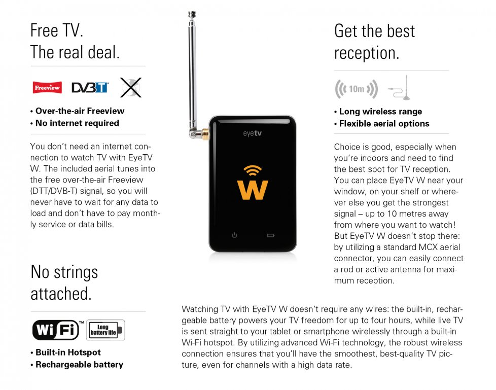 Elgato EyeTV W Wireless Mobile TV Tuner for DTT - Live TV for iOS and  Android