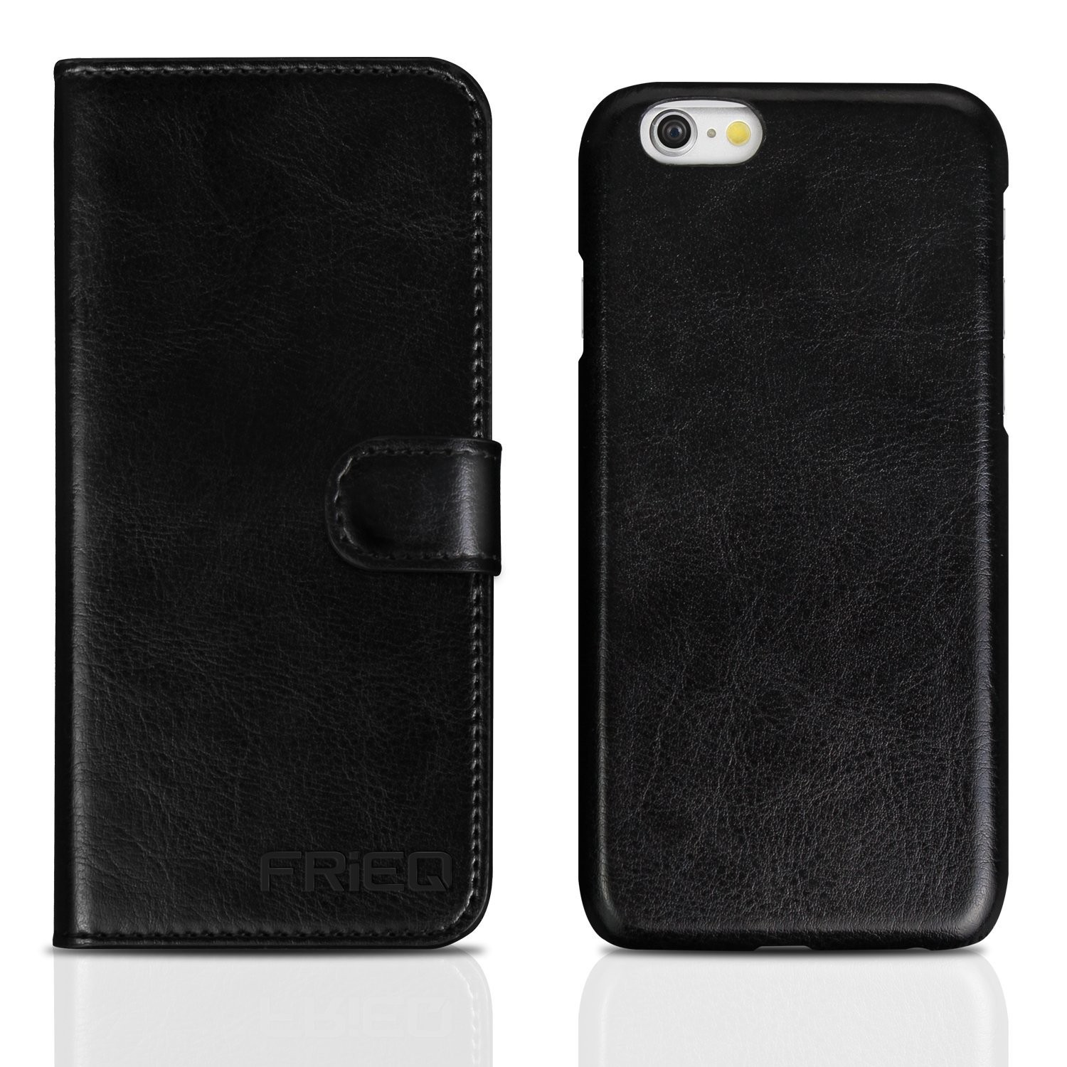 iPhone 6 Case, FRiEQ® Premium PU leather Wallet Case with Card Slots, ID Holders and Cash Compartment for iPhone 6 / iPhone 6s (4.7 inch) - Black, 2881007