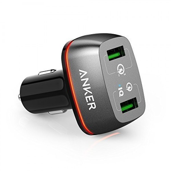 Anker PowerDrive+ 2 42W 2-Port USB Car Charger with Quick Charge 3.0 and Quick Charge 2.0 with PowerIQ for Galaxy S7/S6/S6 Edge, iPhone, iPad, LG G5, Nexus, HTC and More, A2224H12