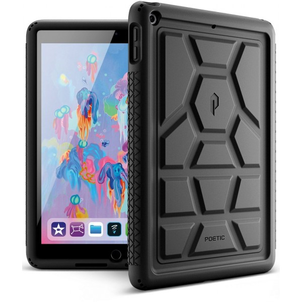 Poetic TurtleSkin Cover Case With Heavy Duty Protection Silicone and Sound-Amplification feature for iPad 9.7 Inch 2017/2018 - Black, B01MZEFF4Q
