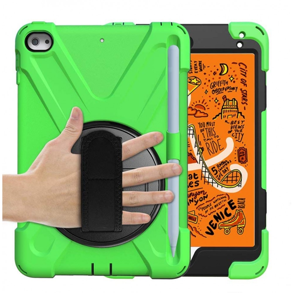 Breacn iPad Mini 5 Case,iPad Mini 4 Case, Heavy Duty Shockproof Protective Rugged Case with Pencil Holder, Hand Strap, Kickstand, Shoulder Strap for iPad Mini 5th/4th Generation 7.9 Inch for Kids - Green, B07RBTNQR9