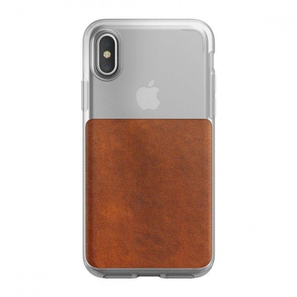 Nomad Horween Leather Clear Case for iPhone X/Xs - Rustic Brown, CASE-IX-CLEAR-BRN