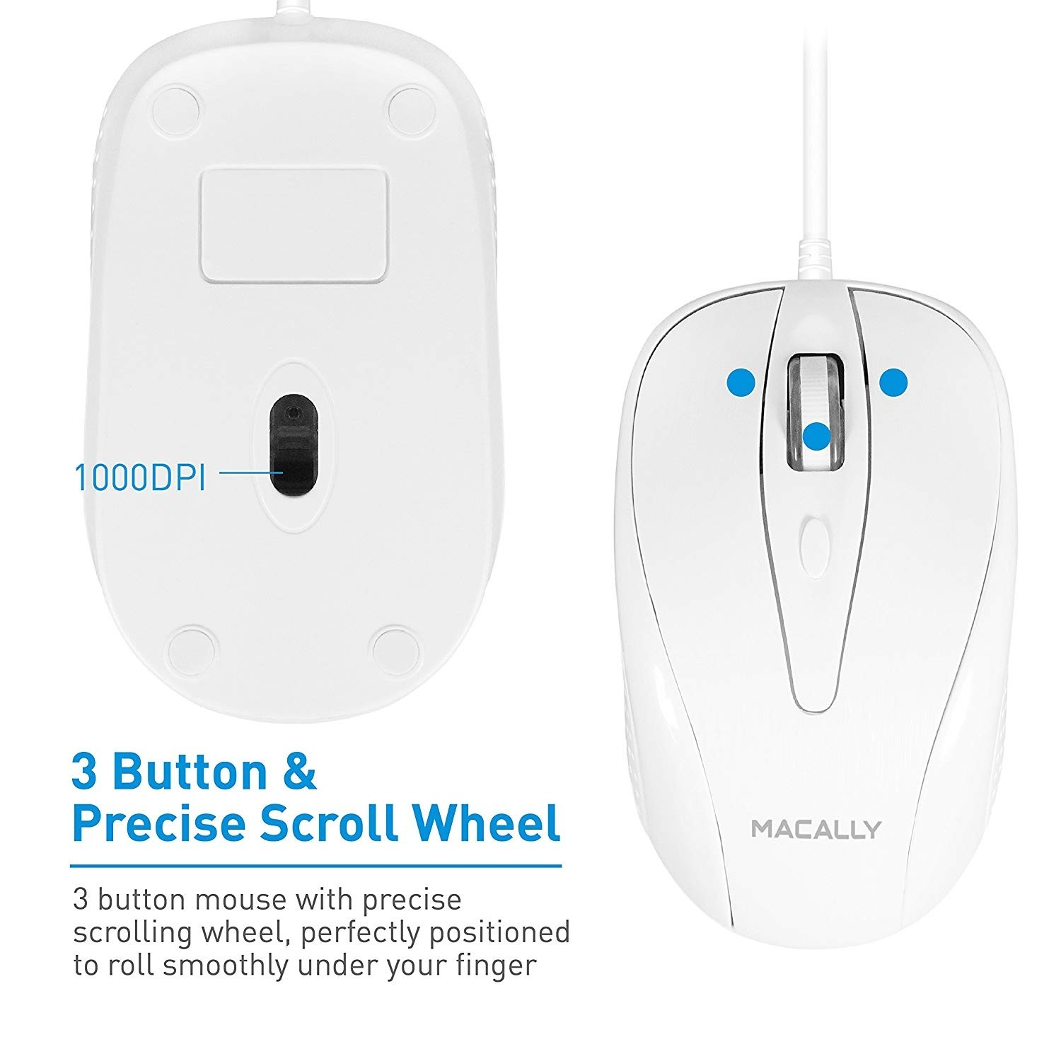 Macally USB Wired Mouse with 3 Button, Scroll Wheel, & 5 Foot Long Cord, Compatible with Apple Macbook Pro / Air, iMac, Mac Mini, Laptops, Desktop Computer, & Windows PC - White, TURBO