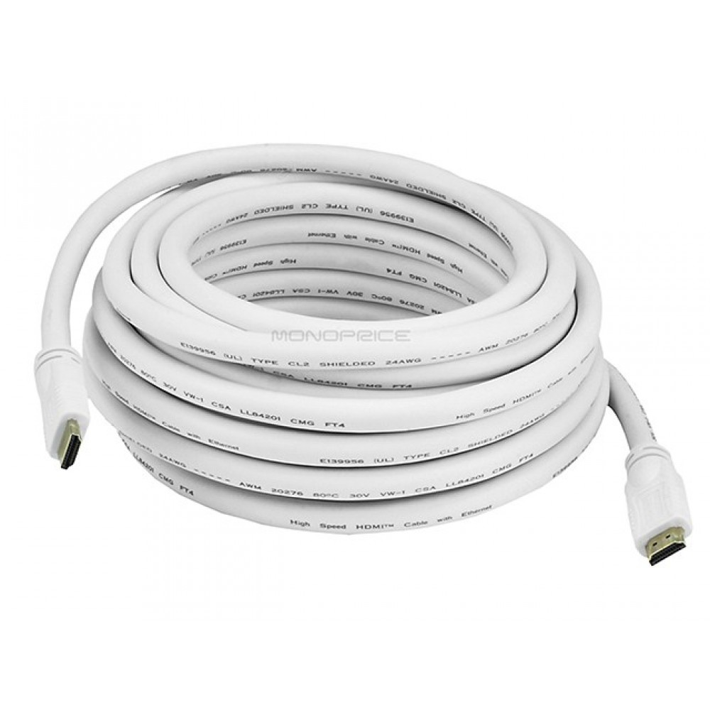 Monoprice 25ft 8 metre 24AWG CL2 Standard HDMI Cable With Ethernet, HDMICAB-ETH-6120