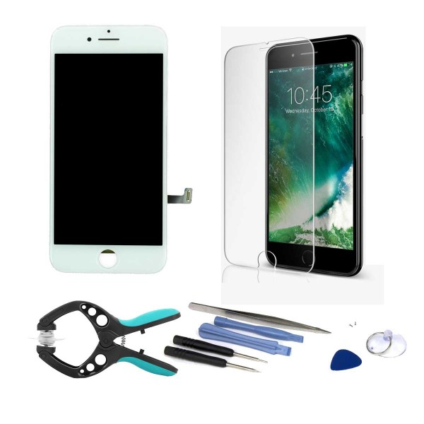 iPhone 7 LCD Screen and Digitizer Full Assembly - Bundle with Tools and Tempered Screen Protector  -  White, I7A-001W-NBD