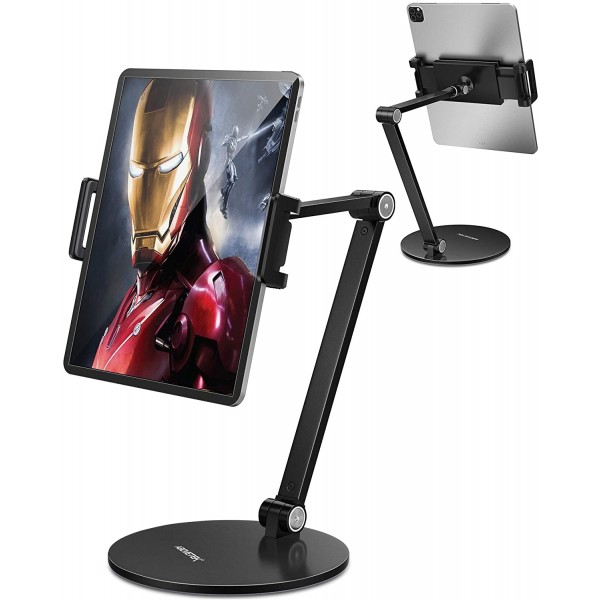 AboveTEK High Quality Adjustable Kiosk Business Tablet iPad Stand Holder, Flexible and 360 Degrees Rotatable - Black, TS-296B