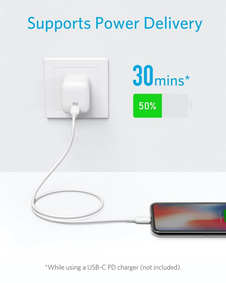 Anker USB C to Lightning Apple MFi Certified Cable, Powerline II for iPhone X/XS/XR/XS Max / 8/8 Plus, Supports Power Delivery (for Use with Type C Chargers), 1.8 m - White, AK-A8633021