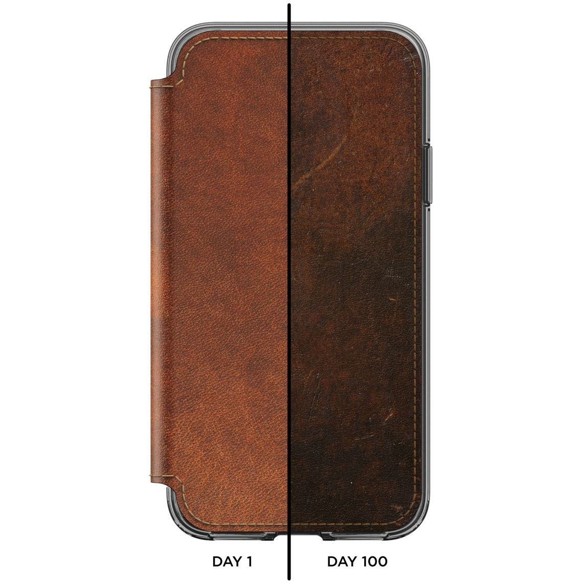 Nomad Horween Clear Wallet Folio for iPhone X/Xs - Rustic Brown, CASE-IX-FOLIO-CLEAR-BRN