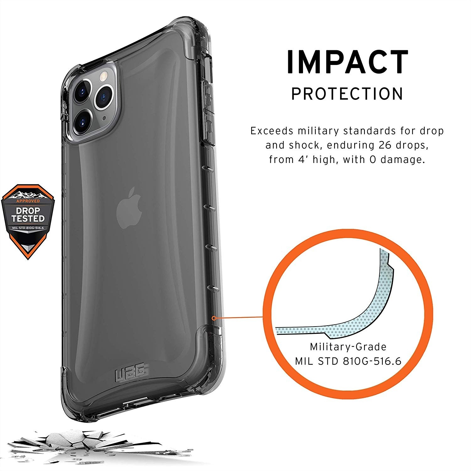 UAG Plyo Case for iPhone 11 Pro Max  Feather-Light Rugged Military Drop Tested -  Ash, 111722113131