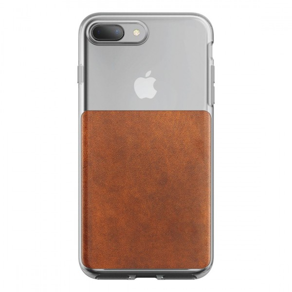 Nomad Horween Leather Clear Case for iPhone 7 Plus/8 Plus - Rustic Brown, CASE-I7PLUS-CLEAR-BRN