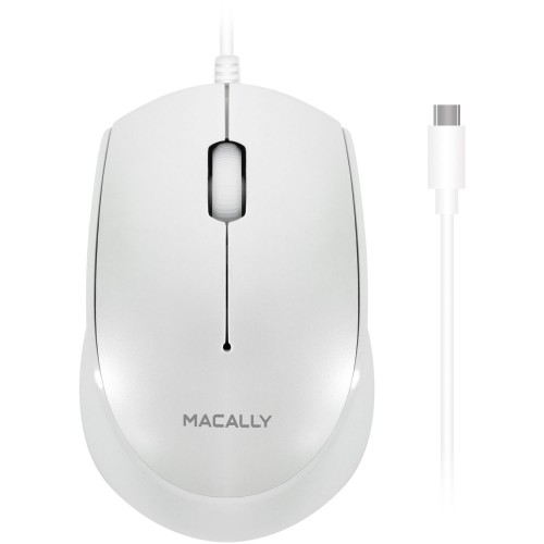 **DISCONTINUED** Macally 3 Button Optical USB-C Wired Mouse for Mac and PC - White