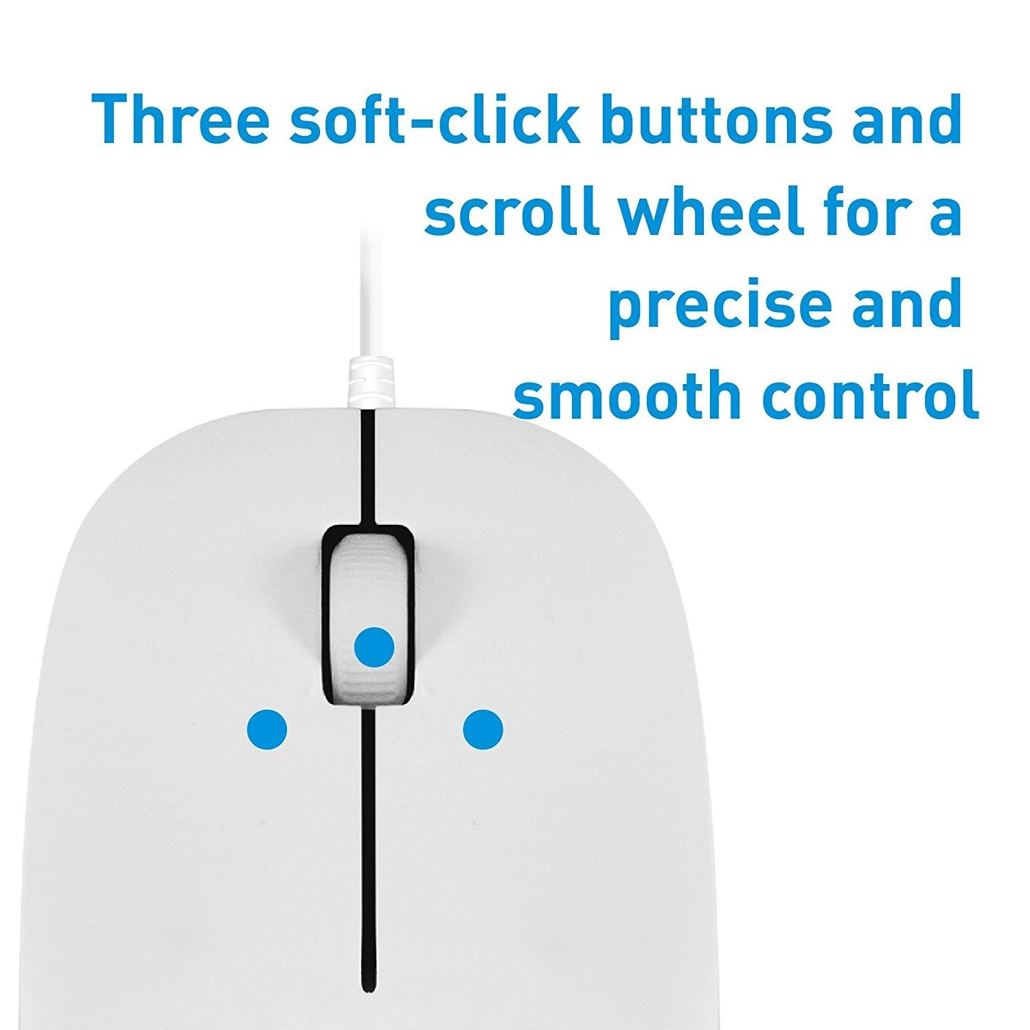 Macally USB Wired Computer Mouse with 3 Button, Scroll Wheel, 5 Foot Long Corded, Compatible with Windows PC, Apple Macbook Pro/Air, iMac, Mac Mini, Laptops - White, XMOUSE