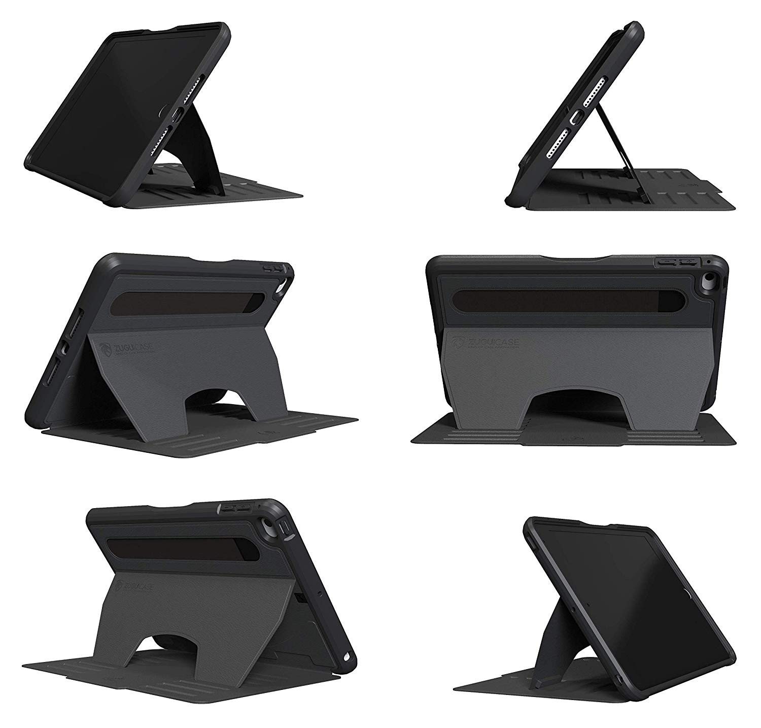 ZUGU CASE - iPad Mini 5 & 4 Muse Case - 5 Ft Drop Protection, Secure 7 Angle Magnetic Stand - Black, ZG-M-MIN5BLK