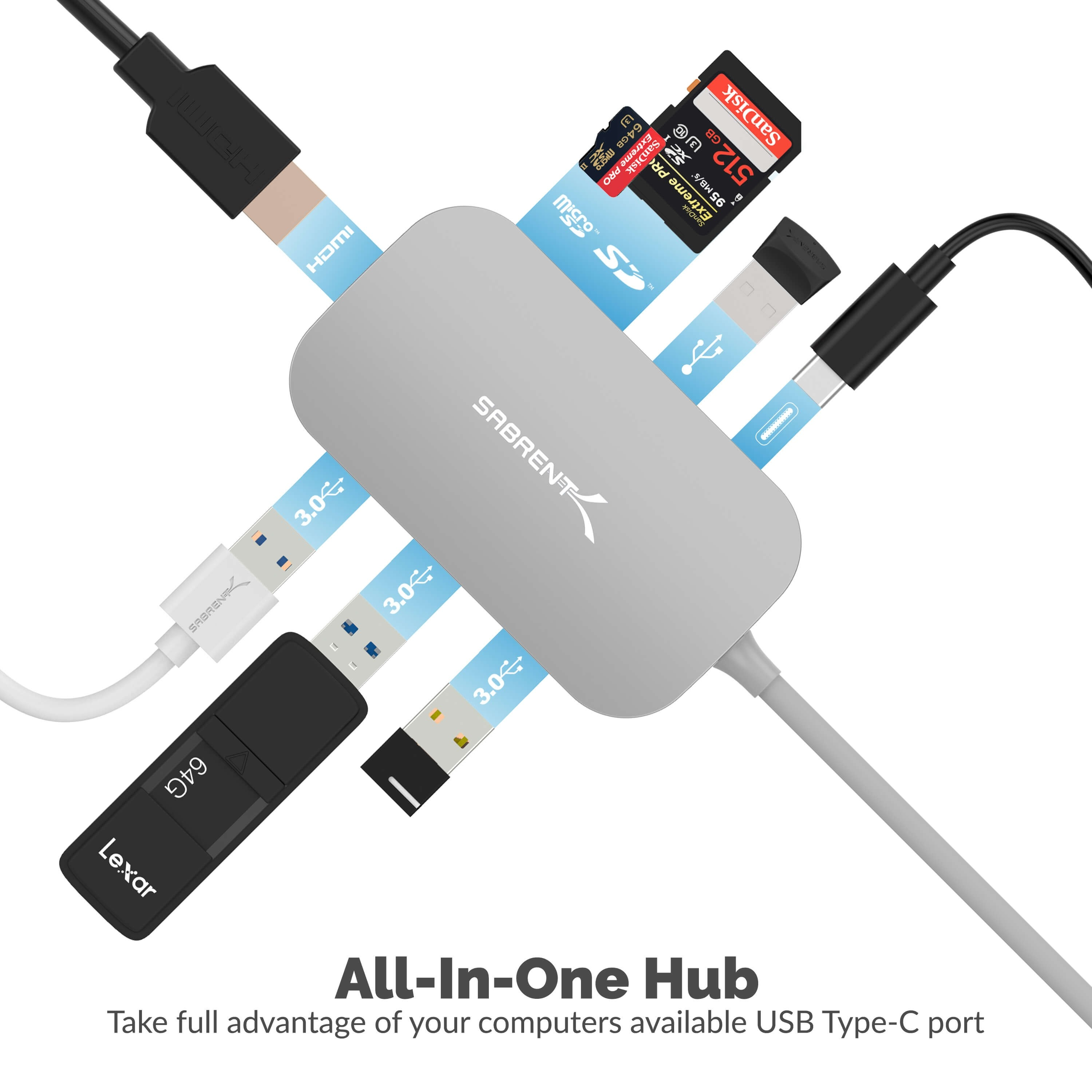 Sabrent 8-in-1 USB Type-C Hub with HDMI(4K) Output, 3 USB 3.0 Ports, 1 USB 2.0 Port, SD/MicroSD Multi-Card Reader, DS-UHCR