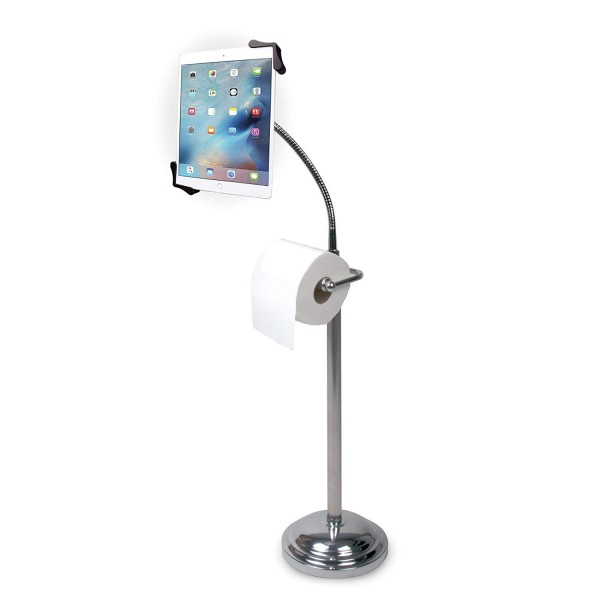 "CTA Digital Pedestal Stand for 7-13"" Tablets with Toilet Paper Roll Holder, PAD-TSB"