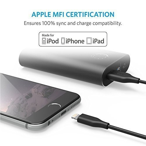 Anker PowerLine II 30cm (1ft) Short Lightning Cable, MFi Certified for iPhone Xs/XS Max/XR/X / 8/8 Plus 7/7 Plus / 6/6 Plus / 5S - Black, AK-A8431011