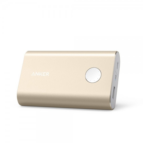 Anker PowerCore+ 10050: The World's Smallest 10000mAh Portable Charger with Premium Aluminum Shell and Qualcomm Certified Quick Charge 2.0 Technology - Gold, A1311HB1