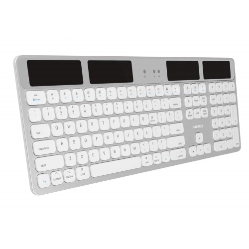 Macally Solar Powered Rechargeable Slim Bluetooth Keyboard for Mac - Silver
