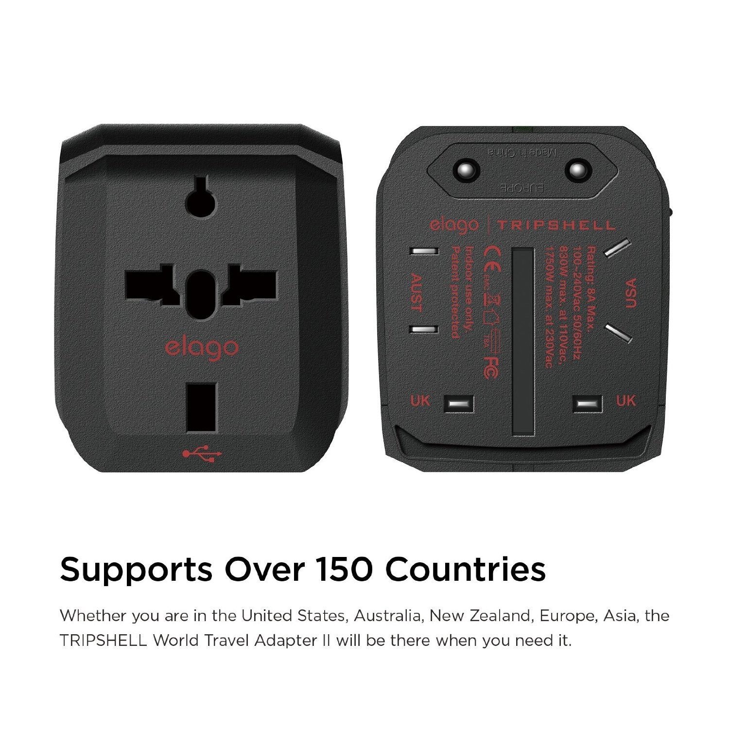 Elago Tripshell World Travel Adapter with Built in Dual USB Ports, TR-ADAP-USB2-BK