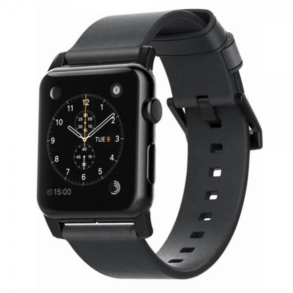 Nomad - Leather Strap for Apple Watch 42/44mm - Modern Build, Black with Black Hardware, NM1A41BM00