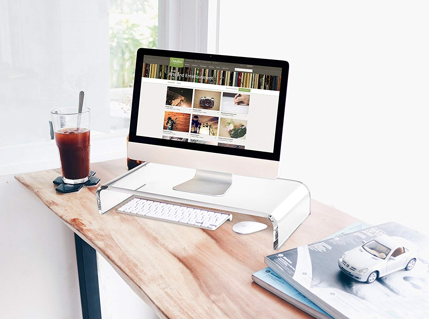 AboveTEK Acrylic Monitor Stand Riser, Crystal Clear iMac Stand Computer Stand Desk Organizer - Transparent, MS-202A