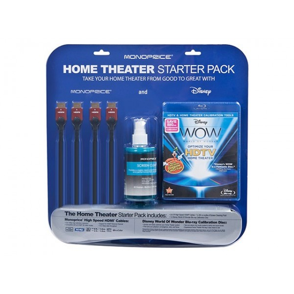 Monoprice Home Theater Starter Kit Including Disney WOW: World of Wonder Calibration BluRay Single Disc, KIT-9498