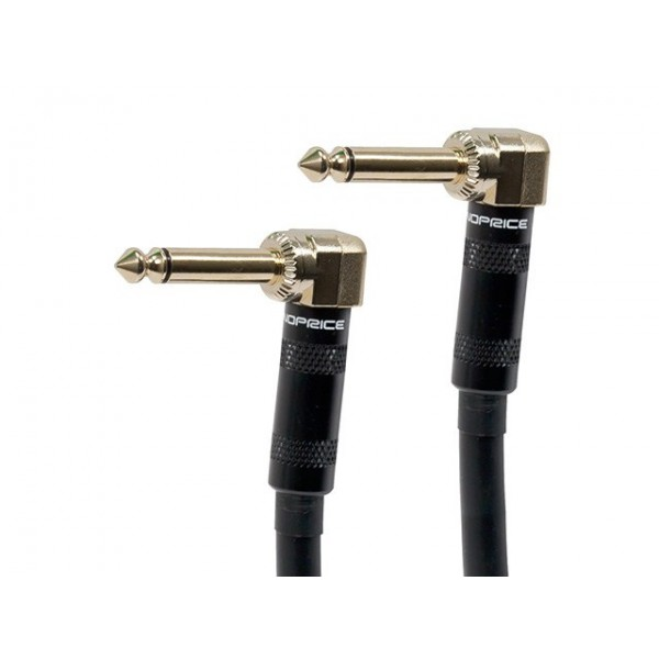 0,9m Premier Series 1/4inch (TS or Mono Phono) Right Angle Male to Right Angle Male 16AWG Audio Cable (Gold Plated), JACK-9447