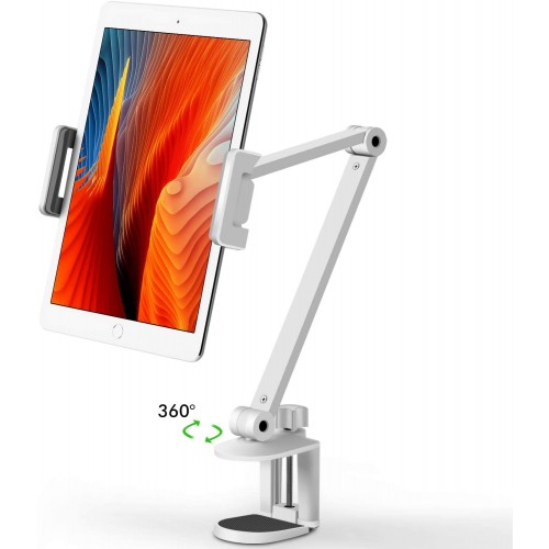 Viozon Tablet Stand Holder Mount, Rotate 360 Degrees of Flexible, Height and Angle Adjustable, High-Grade Aluminium Alloy Long Arm Compatible with 4-13 Mobile Phone and Tablet - White