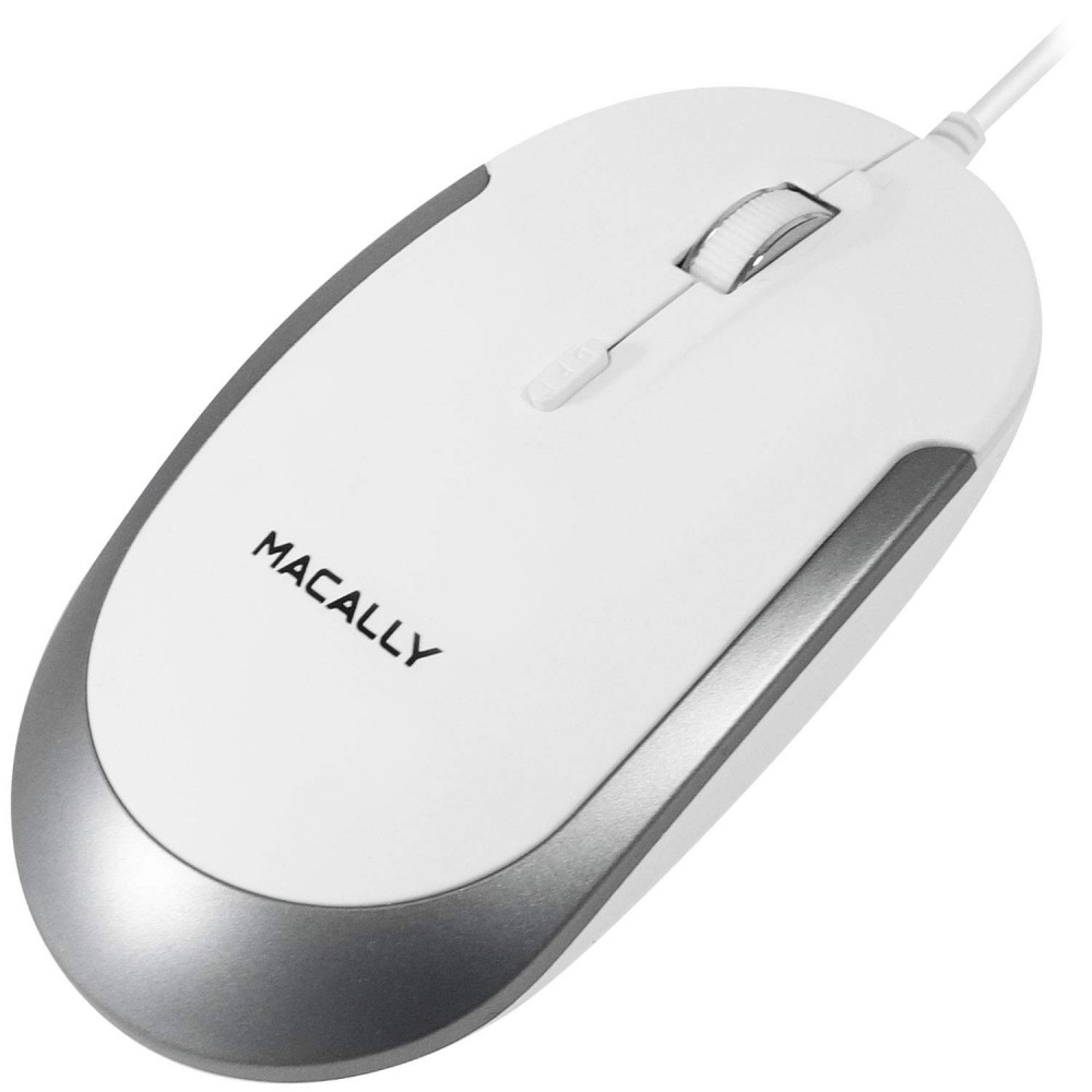 Macally Silent USB Mouse Wired for Apple Mac or Windows PC Laptop/Desktop Computer, Small for Easy Travel  - White, Aluminium Colour, DYNAMOUSE