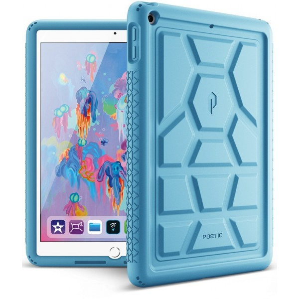 Poetic TurtleSkin Cover Case With Heavy Duty Protection Silicone and Sound-Amplification feature for iPad 9.7 Inch 2017/2018 - Blue, B01MSC15AL
