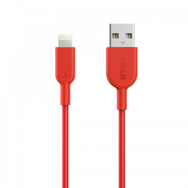 Anker PowerLine II Lightning 12000 bend, MFI certified TPE 0.9m - Red, A8432H91