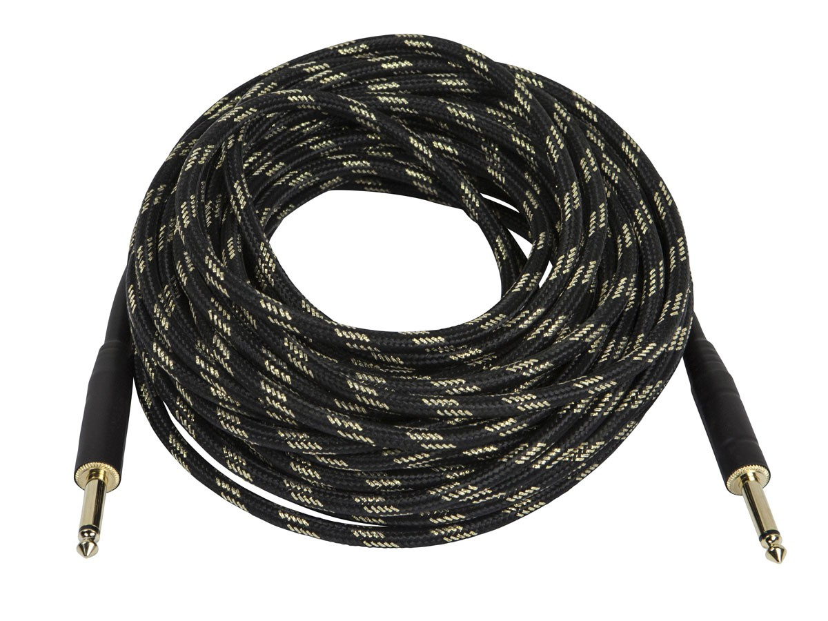 50ft. Cloth Series 1/4 inch T/S Male 20AWG Instrument Cable - Black & Gold, 601450