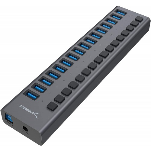 Sabrent USB 3.0 16-Port Aluminum HUB with Power Switches and LEDs