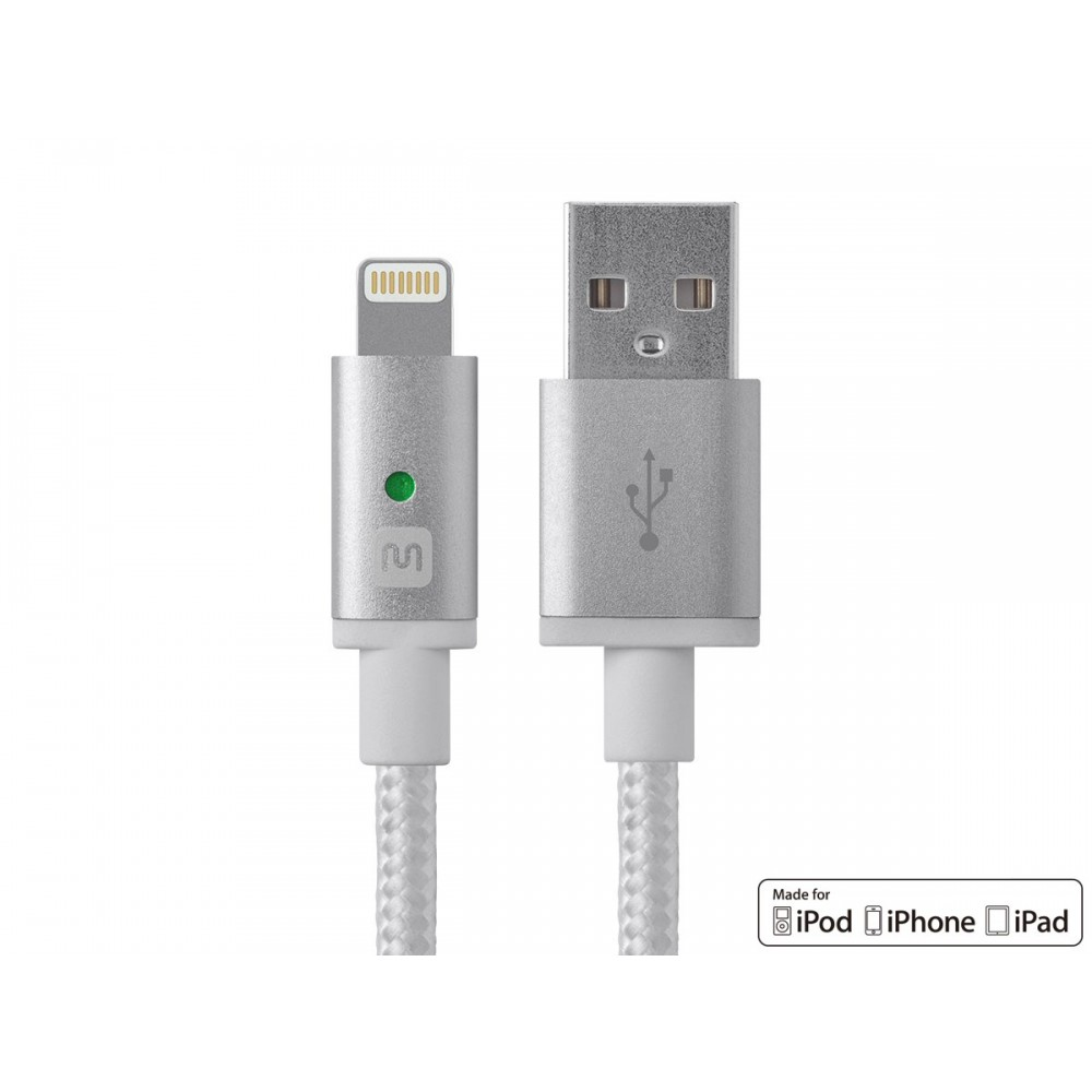 Monoprice Luxe Series Apple MFi Certified Lightning™ to USB Charge & Sync Cable, 6ft White, USB-LI-12872