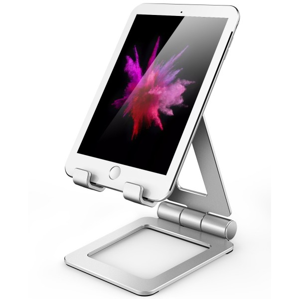 Hi-Tech Wireless Adjustable iPad Stand, Tablet Stand Holders, Cell Phone Stands, iPhone Stand, Nintendo Switch Stand, iPad Pro Stand, iPad Mini Stands and Holders for Desk (4-13 inch) - Silver, B0755C3QTK