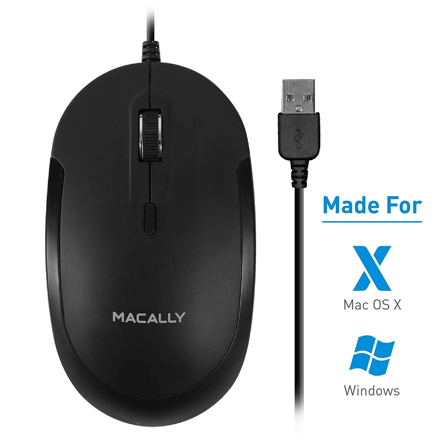 Macally Silent USB Mouse Wired for Apple Mac or Windows, Slim & Compact Mice Design with Optical Sensor and DPI Switch 800/1200/1600/2400, Small for Easy Travel  - Black, DYNAMOUSEB