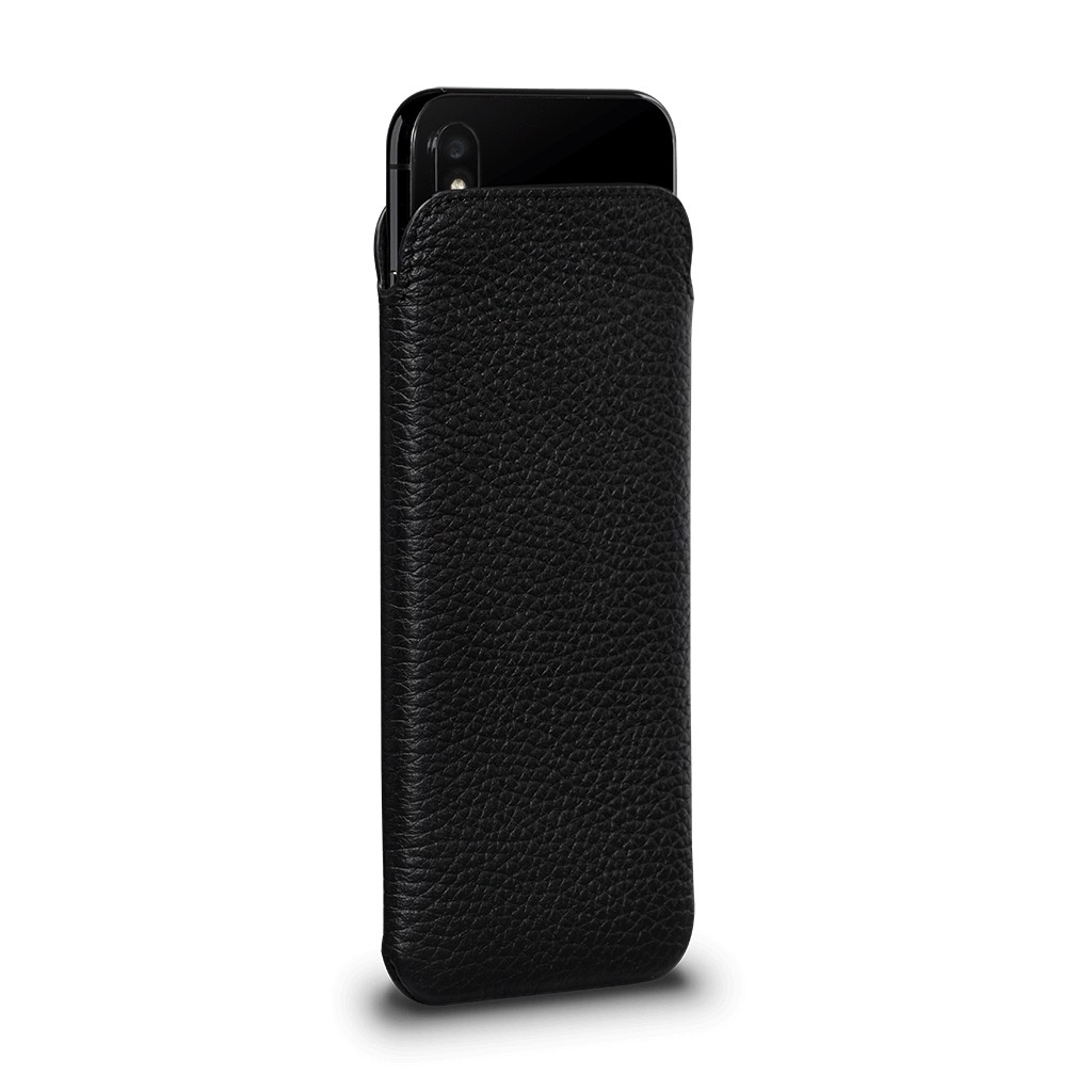 Sena Ultraslim Classic Leather Sleeve Pouch for iPhone XS Max - Black, SFD393NPUS
