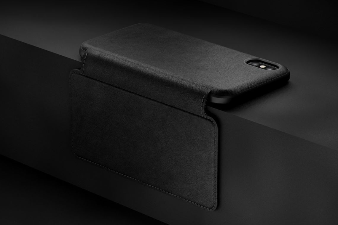 Nomad Horween Leather Rugged Folio for iPhone XS / X - Black, NM21F10H00
