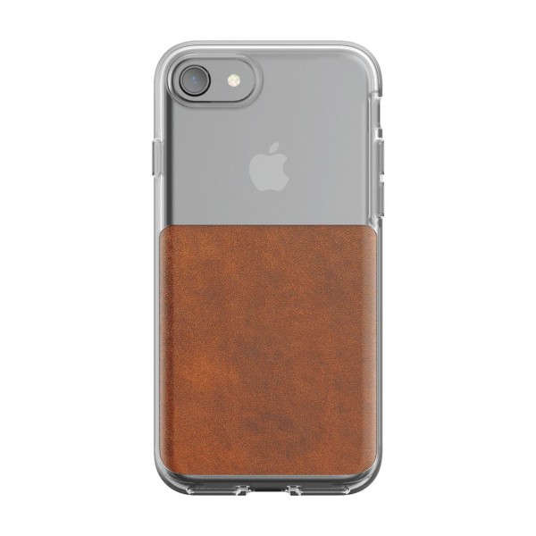 Nomad Horween Leather Clear Case for iPhone 7/8 - Rustic Brown, CASE-I7-CLEAR-BRN