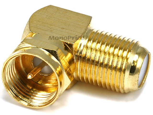 F Type Right Angle Female to Male Adapter - Gold Plated, ADT-6775