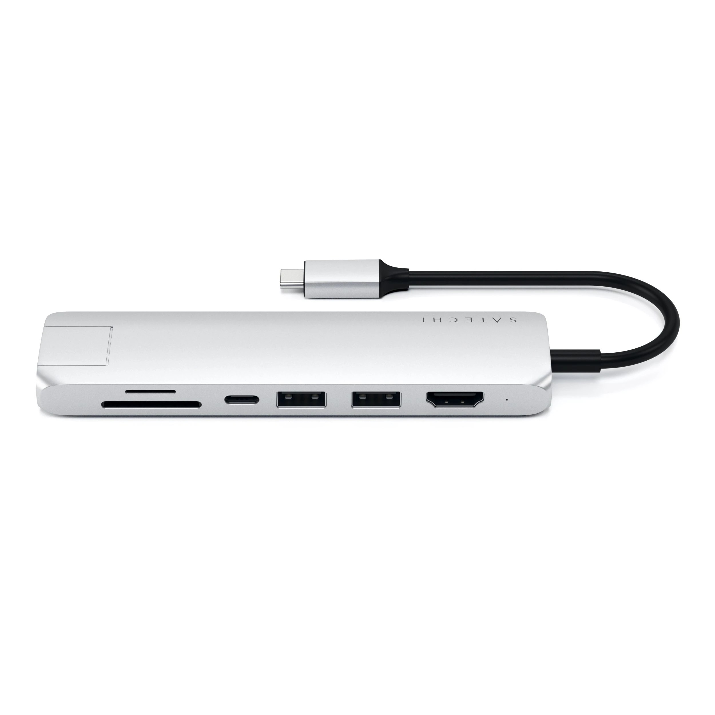 Satechi USB-C Slim Multiport with Ethernet Adapter - Silver, ST-UCSMA3S