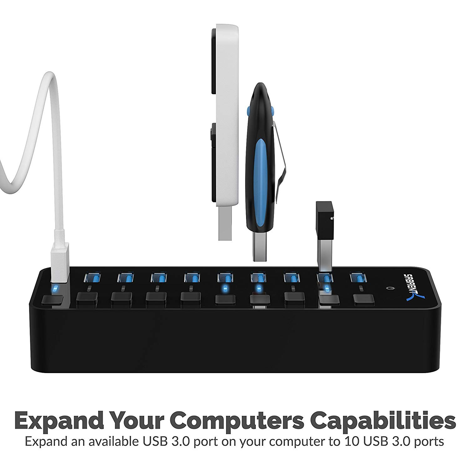 Sabrent 10-Port 60W USB 3.0 Hub with Individual Power Switches and LEDs includes 60W 12V/5A power adapter - Black, HB-BU10