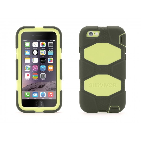 Griffin Survivor Extreme-Duty Case for iPhone 6 - Olive/Lime, IPH6-EXT-GB40567