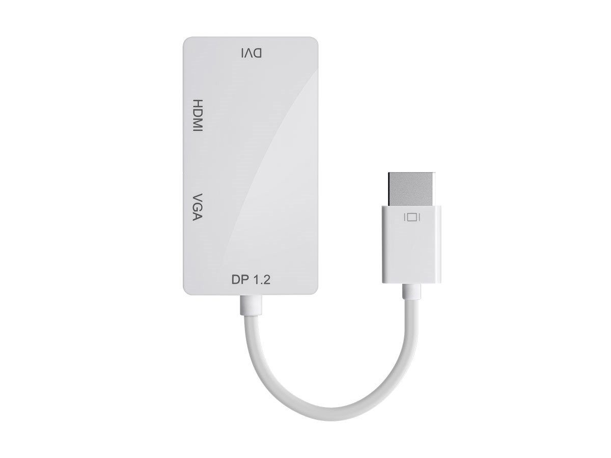 DisplayPort 1.2a to 4K HDMI Dual Link DVI and VGA Passive Adapter White, ADT-12800