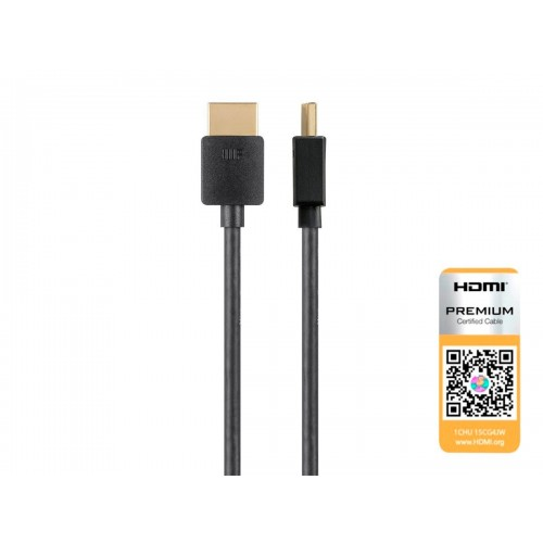 Monoprice Ultra Slim Certified Premium High Speed HDMI Cable, 4K@60Hz, HDR, 18Gbps, 36AWG, YCbCr 4:4:4, 0.9 m - Black