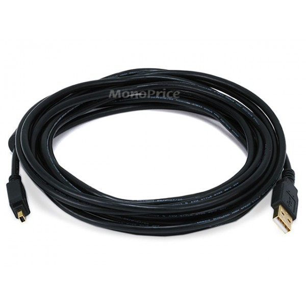 4.5m USB 2.0 A Male to Mini-B 4pin Male 28/24AWG Cable w/ Ferrite Core (Gold Plated), USB-MINI-5455