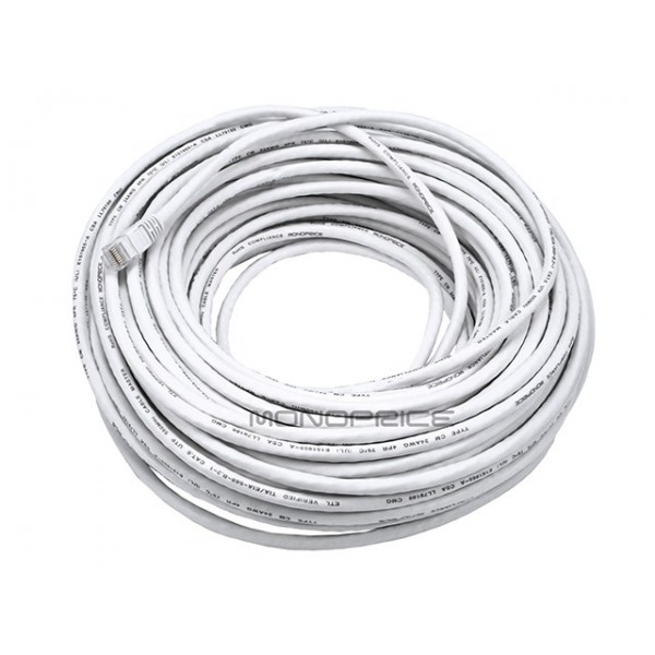 30m 24AWG Cat6 550MHz UTP Ethernet Bare Copper Network Cable - White, ETH-2333
