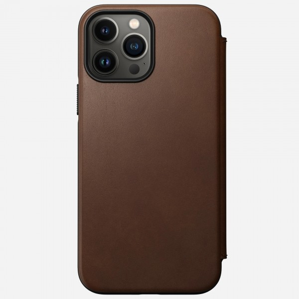 Nomad Modern Leather Folio Case For iPhone 13 Pro Max - Rustic Brown, NM01075585