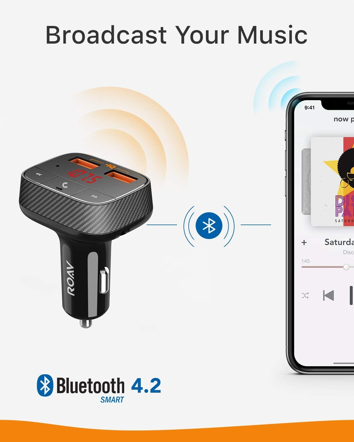 Roav SmartCharge F0, by Anker, FM Transmitter/Bluetooth Receiver/Car Charger with Bluetooth 4.2, 2 USB Ports, PowerIQ, and AUX Output, AK-R5113112