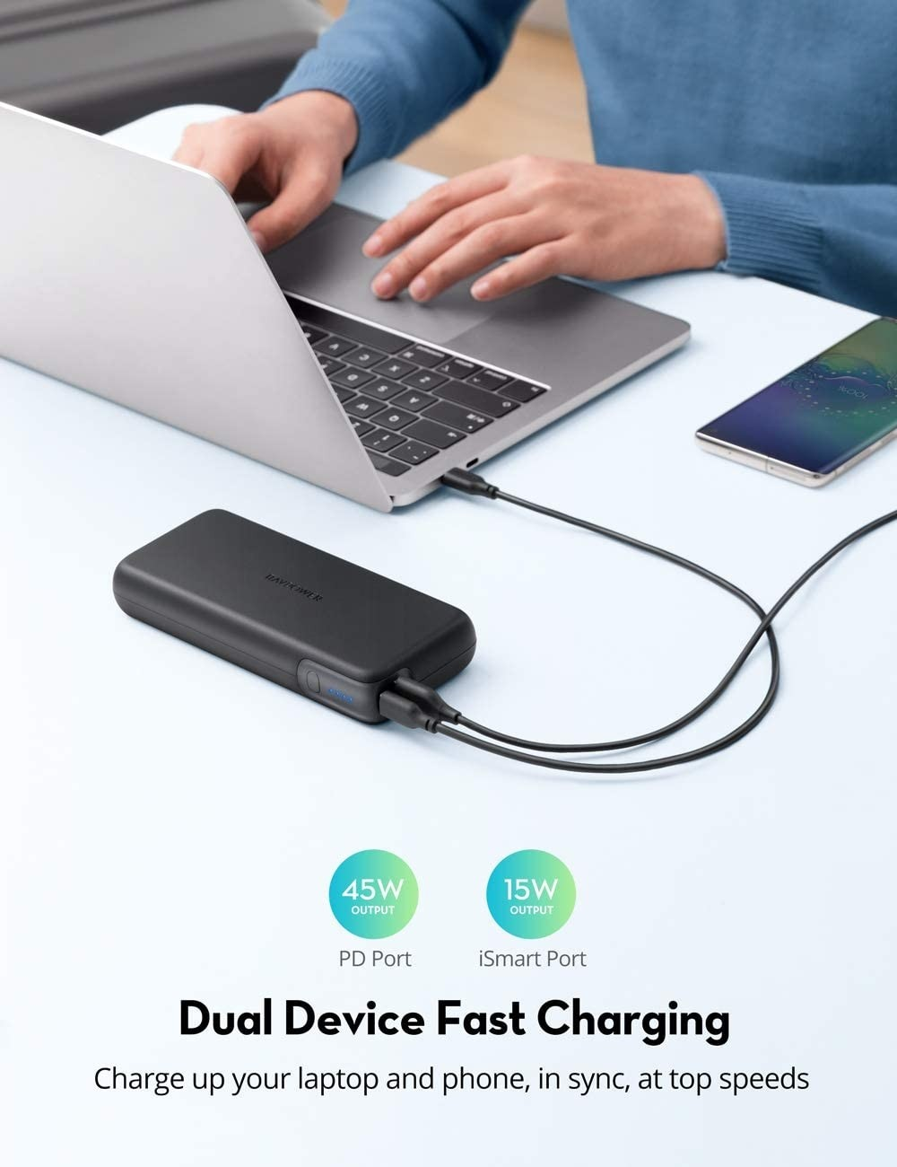iSmart (formerly RAVPower) USB C  20000mAh 60W PD 3.0 2-Port Power Delivery Laptop Charger (Charger Not Included), RP-PB201